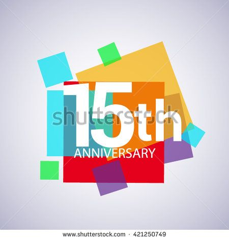 15th anniversary logo, 15 years anniversary colorful vector design. geometric background. - stock vector