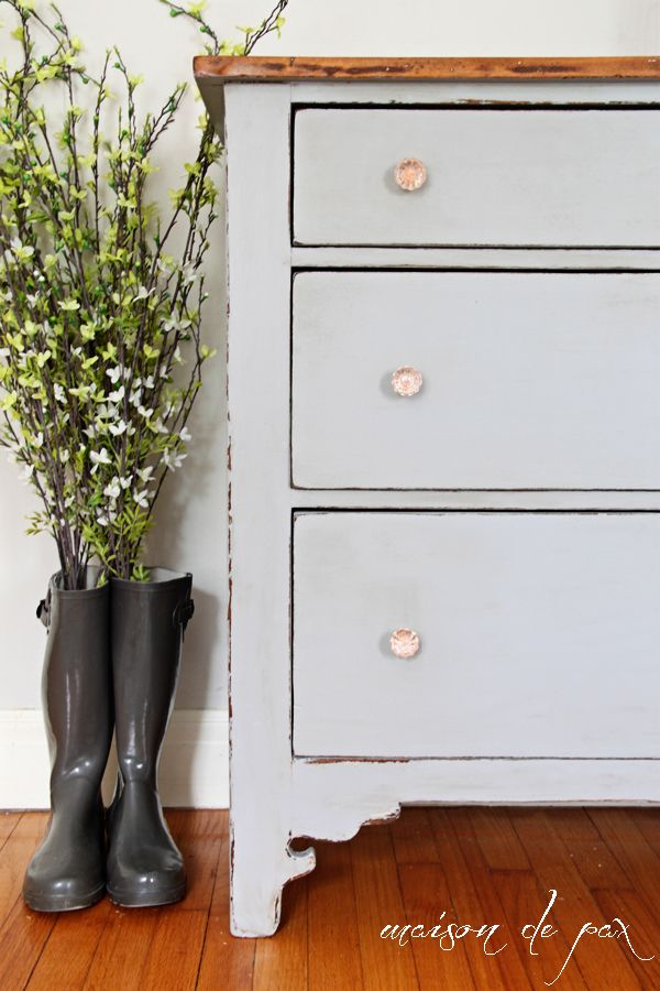 gray farmhouse dresser makeover using Country Chic Paint in Pebble Beach at maisondepax.com