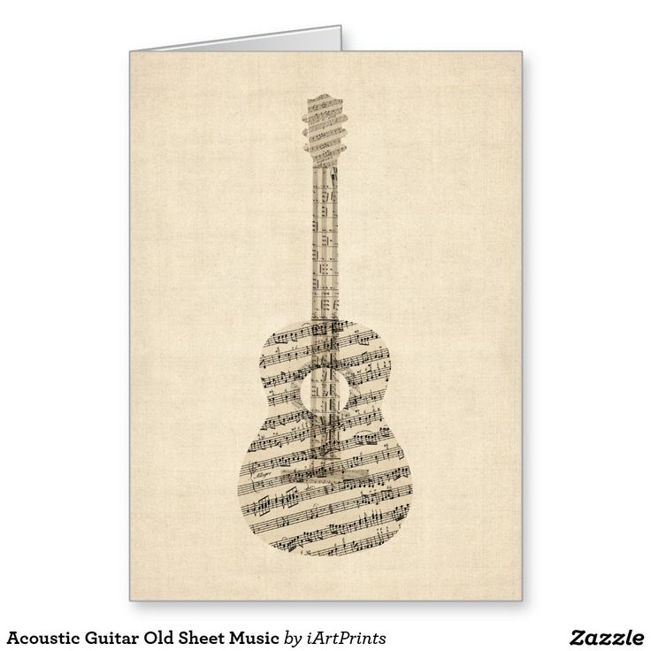 Acoustic Guitar Old Sheet Music Greeting Card