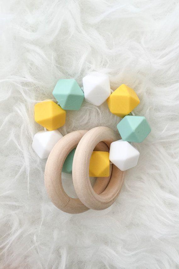 Wooden Sensory Teether Silicone Teether Natural Teething Toys Yellow Mint White Waldorf Montesdori Toy