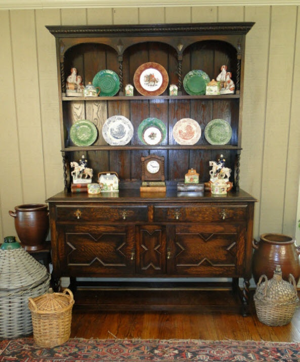 Dark Wood Welsh Dresser: Antique Buffet SIDEBOARD Hutch~English Barley Twist Tiger