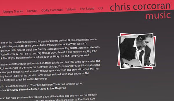 Chris Corcoran Music website design.