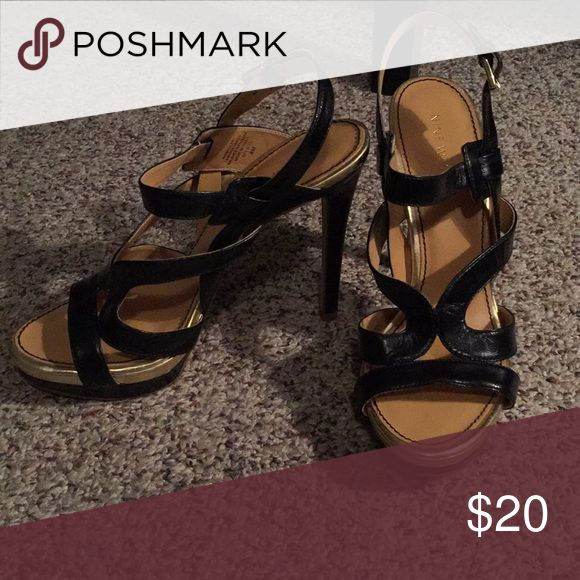 Nine West Strappy High Heels Nine West black and gold strappy heels. Heels are about 5in tall. Size 8. Nine West Shoes Heels
