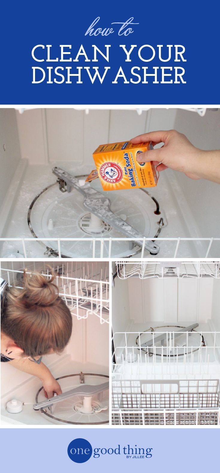 Learn how to clean your dishwasher! This process eliminate problems like standing water and unpleasant smells, and increase its overall efficiency.