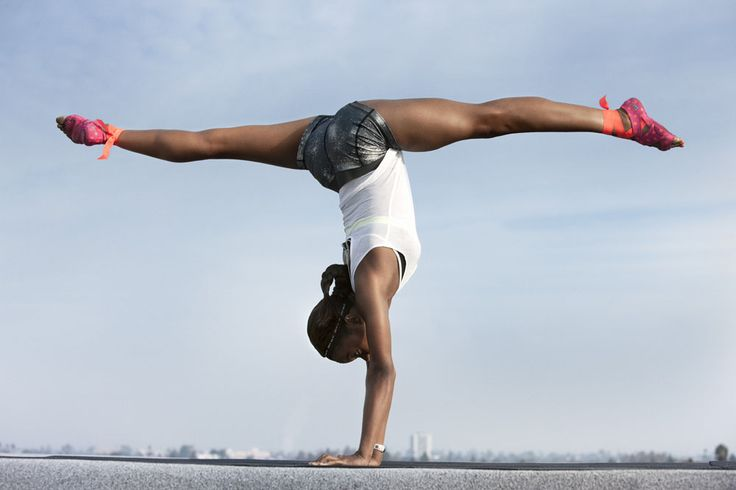 Gabby Douglas NTC Handstand 19672 Gabby Douglas Wears Studio Wrap for Nike Training Club