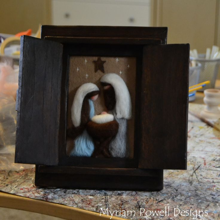Needle Felted Nativity, Mary in blue by Myriam Powell