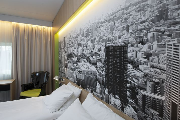 Aerial photograph wallpaper in the hotel bedrooms. Interior architecture | Ramsoskar