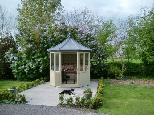Octagonal summerhouse with seating and upholstery lead for Very small garden sheds