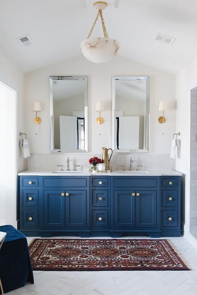 Bathroom vanity paint color is Benjamin Moore Newburyport blue  Paintbox Color Explosion in