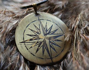 Windrose pendant - can be PERSONALIZED - Compass Rose necklace, travel jewelry, gift for traveller, wanderlust jewelry, men compass necklace