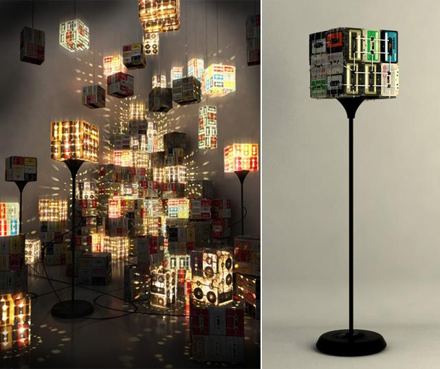 Certain things are ingenius in the mere simplicity of thought behind them this is one such idea cassette tapes floor lamp