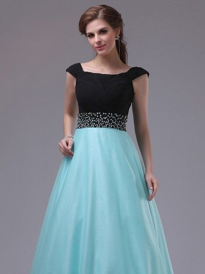 Discount Multi Colours Satin Tulle Beading Square Neckline Prom Dress