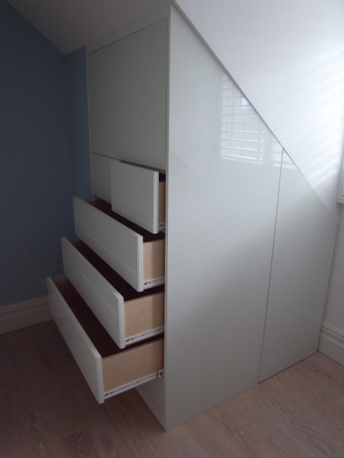 built-in drawers for sloped ceiling