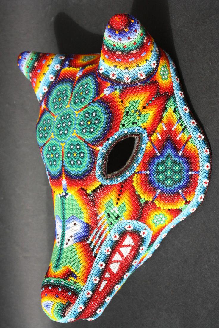 Huichol paper mache coyote mask mexican native folk art