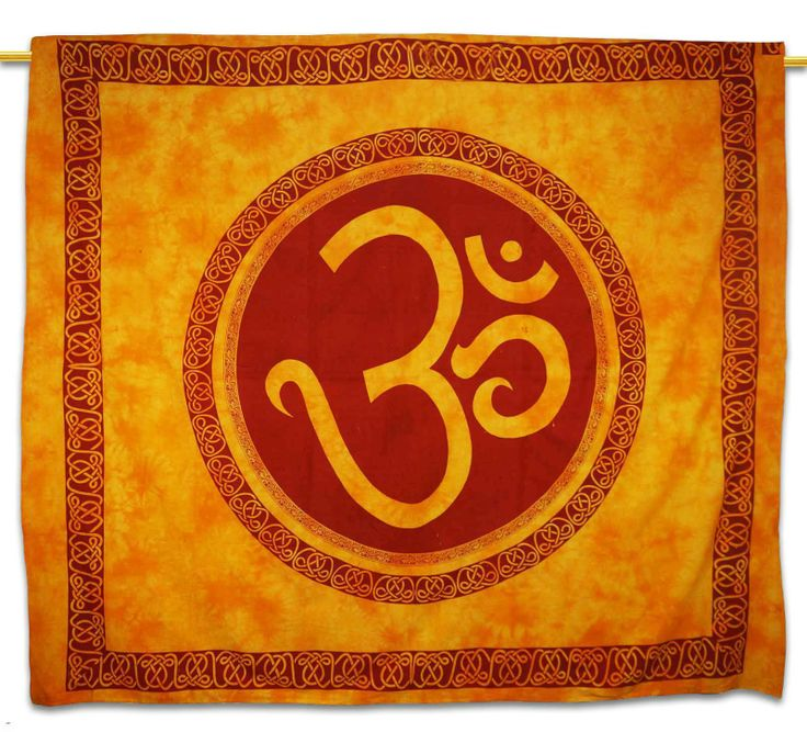 Beautiful Indian Screen Printed Cotton Om Printed Tapestry or Bed Cover in Twin Size.  ..this is img