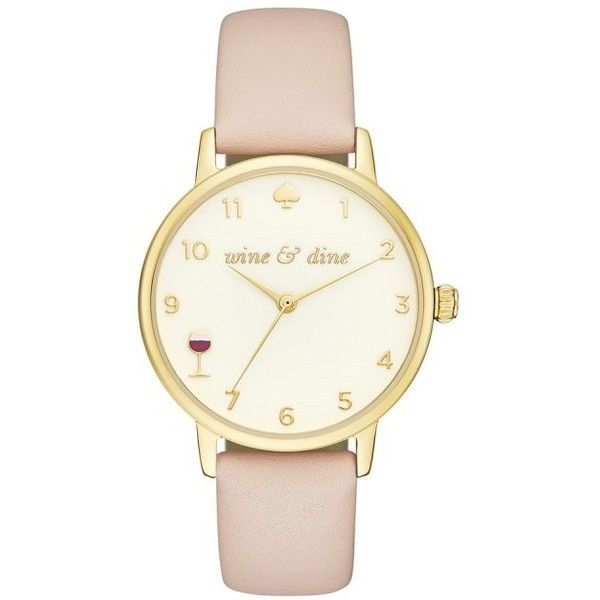 Kate Spade New York Watch - Metro Winding Gold Vachetta Watch Nude -... ($210) ❤ liked on Polyvore featuring jewelry, watches, rose, rose watches, yellow gold watches, water resistant watches, rose gold watches and analog wrist watch