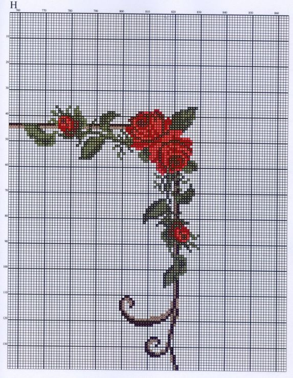 Cross-stitch Floral Border, part 2 ...  no color chart available, use pattern chart as your color guide..  or choose your own colors...   Gallery.ru / Фото #17 - ***** - celita