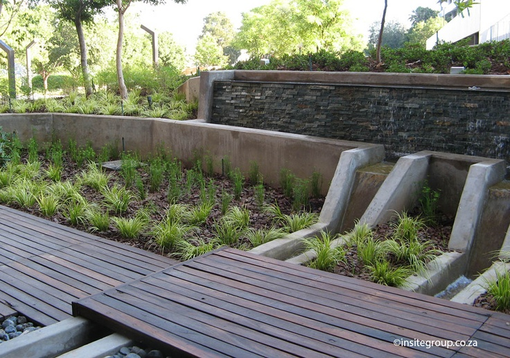 Water feature design at Alice lane, Sandton, South Africa, by Insite landscape architects.