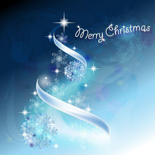 Blue Light Christmas Trees design vector 04