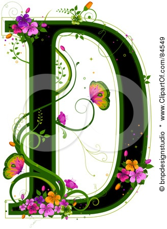 103 best d is for museum quality posters and art prints black capital letter d outlined in green with colorful flowers and butterflies by bnp design studio altavistaventures Gallery