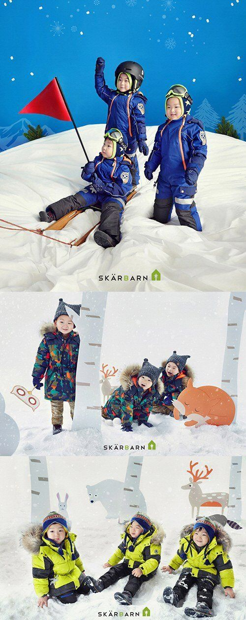 "Song Il Kook's Triplets Dress Cozy for Winter with ""Skarbarn"" Clothing 