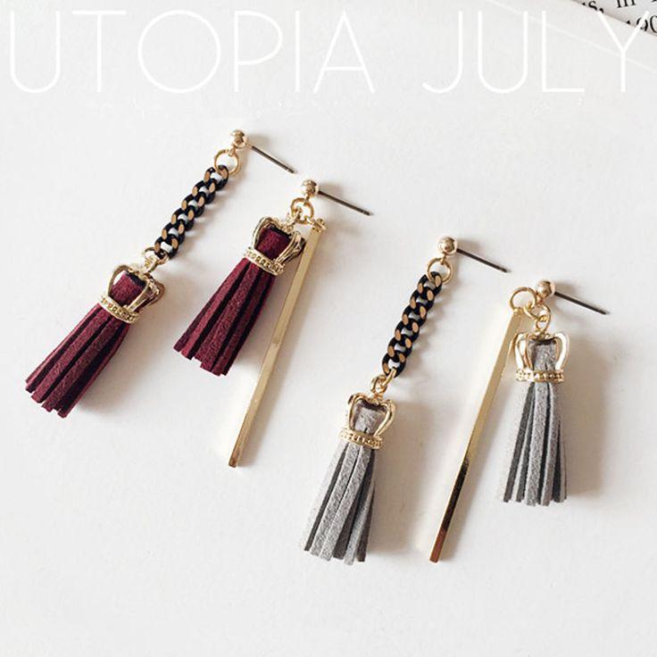 Fashion Women Crown Irregular Long Chain Tassel Earrings Pin Dangle Drop Fringe Earrings 2A2016