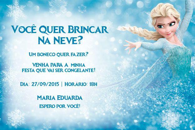 Você quer brincar na Neve? Um boneco quer fazer? Convite de aniversário Frozen personalizado no Adobe Photoshop.