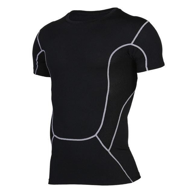 Men Shirt Running Sports Sportswear Compression Tights Breathable Fitness Exercise Gym Shirt Short Sleeve Tops 75503 XL