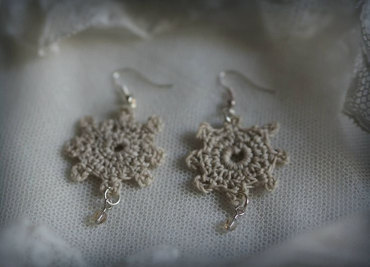 Crochet earrings with Swarovski crystals