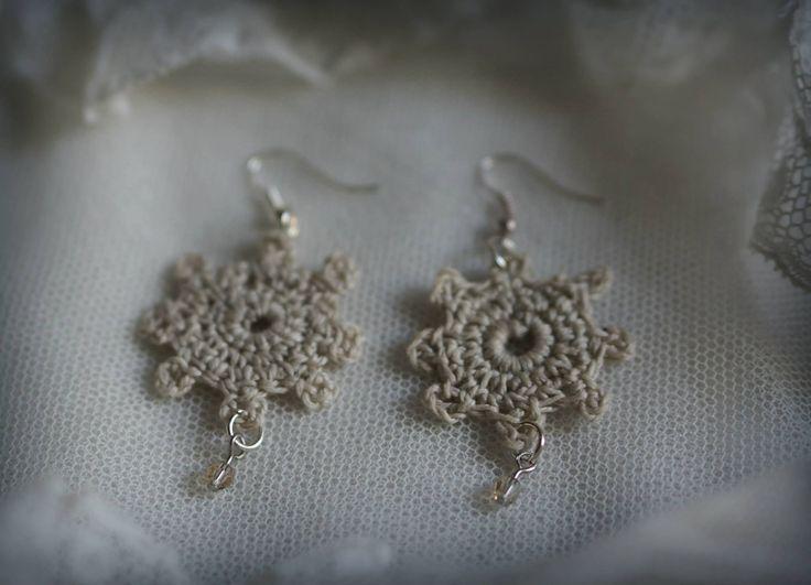 Crochet earrings with Swarovski crystals