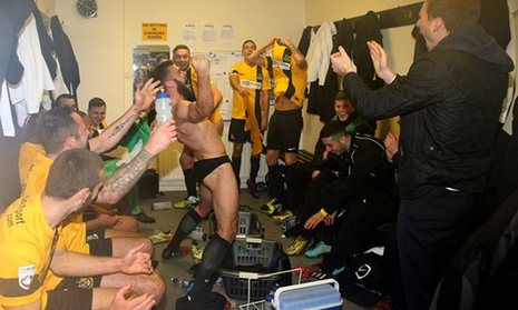 Locker room japes with Southport FC.