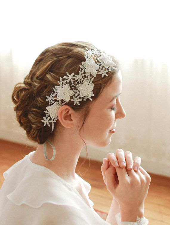 STYLE - #218 CODE:HDB005 Milkway headwrap. Romantic wedding lace headband resembles milky way. The petite star-like flowers are hand-beaded with various clear beads and silver bugo beads which self-ties with silver ribbons. To order yours, contact us on loca@localoca.co.za www.localoca.co.za