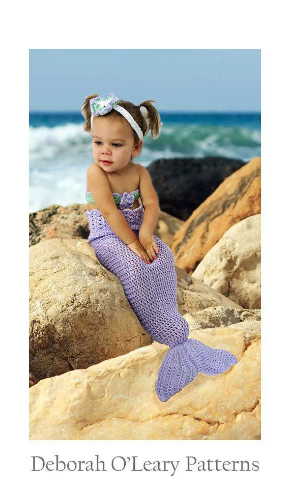 Gehaakte Baby zeemeermin staart patroon - pasgeboren aan 5T - zeemeermin foto Prop - Baby Bikini Top - Baby bloem hoofdband door Deborah O