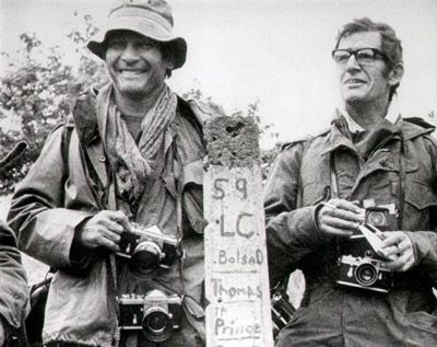Henri Huet, left, and Larry Burrows, AP photojournalists covering the Vietnam War.