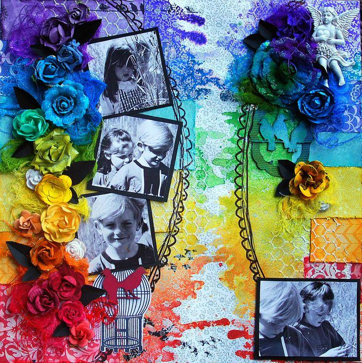Scrap Around the World November challenge - Colourful by Fiona Paltridge Pastiche Studio