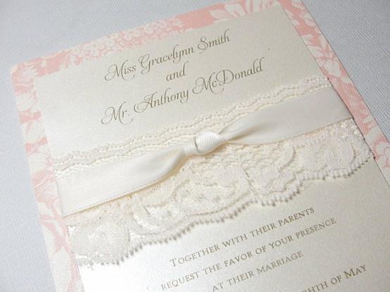 Wedding Invite with Lace Trim