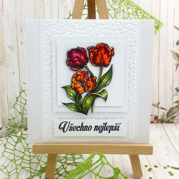 Tulip handmade colored with Power Poppy Stamp