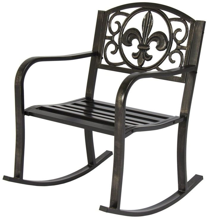 Black Metal Rocking Chair Deck Porch Patio Seat Outdoor Glider Rocker ...