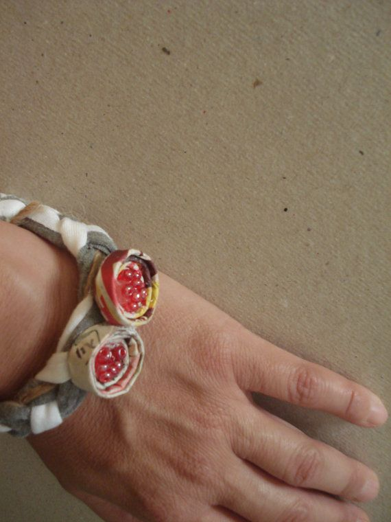 handmade grey and white braid bracelet with by art2artshop on Etsy