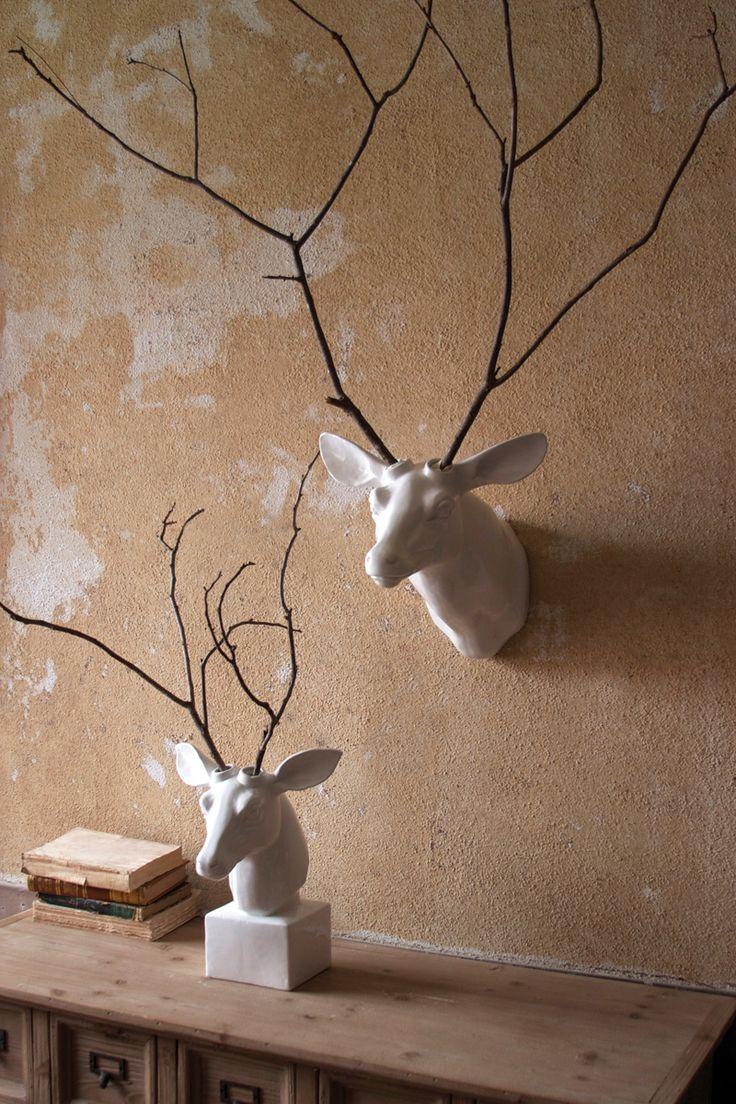 White Ceramic Mounted Deer Head Tabletop Version At West