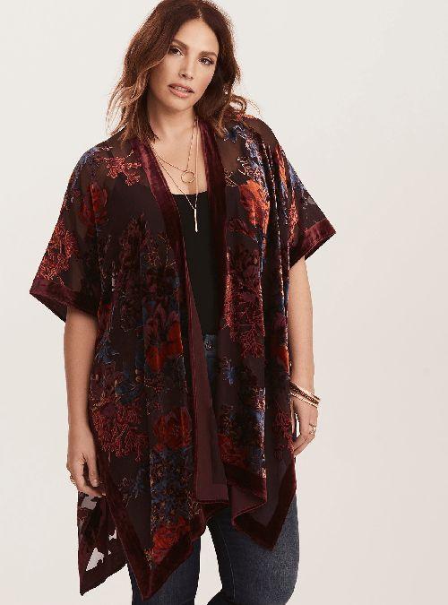 Floral Velvet Print Burnout Kimono