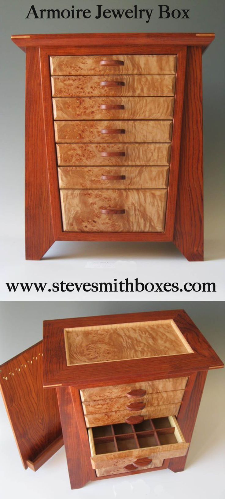 Wood jewelry box handcrafted woodworking projects plans for Handmade wooden jewelry box