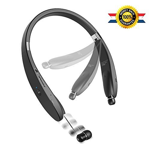 Bluetooth Headset [New Release] Bluetooth Headphone Wireless Neckband Design with Retractable Earbud for iPhone Android Other Bluetooth Enabled Devices