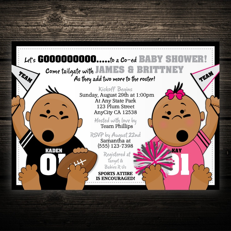 baby shower invitation for twins%0A Items similar to TWIN Sports Football Tailgate Printable Baby Shower or  Birthday Invitation  ANY TEAM on Etsy
