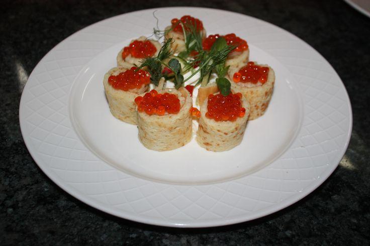 Porous Pancakes with Salmon Caviar