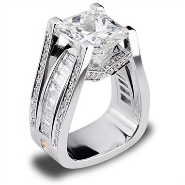 Such an amazing design!!! Features a 7.07 carat radiant cut diamond.