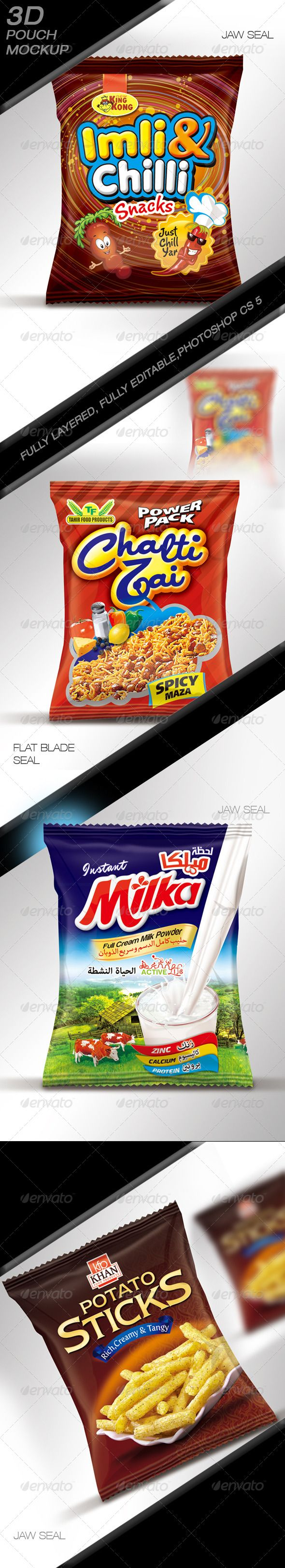Chips & Snacks Pouch Mock up - Miscellaneous Product Mock-Ups
