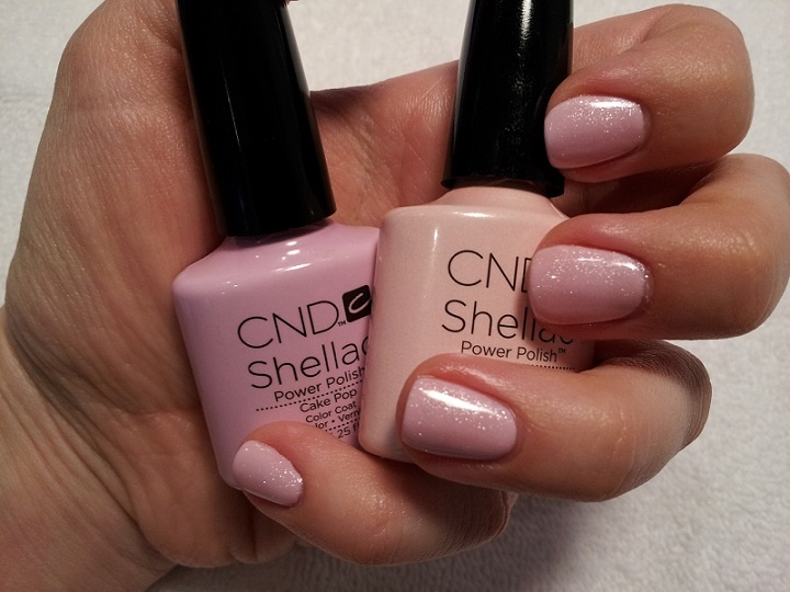 Such a pretty Shellac combination. Cake Pop and Grapefruit Sparkle.  Ask for it at your next Shellac appointment with me!