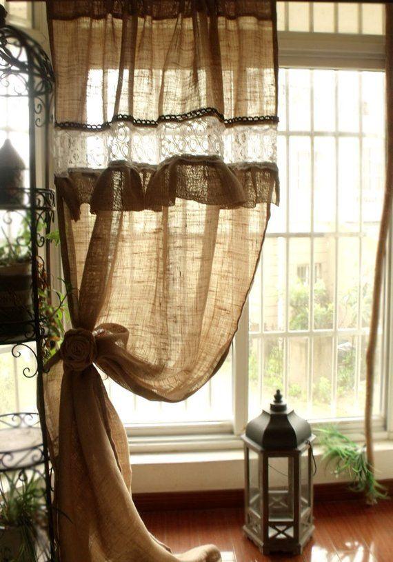 Custom Ruffled Rustic Burlap Window Curtain Panel White Etsy Curtain Decor Farmhouse Window Treatments White Paneling