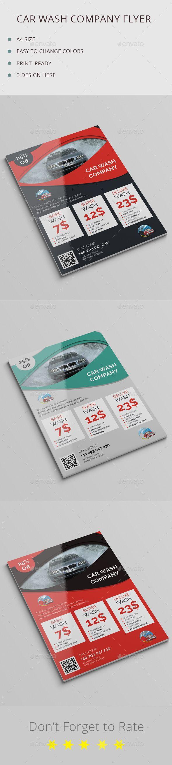 Car Wash Company Flyer Template PSD #design Download: http://graphicriver.net/item/car-wash-company-flyer-/13353701?ref=ksioks